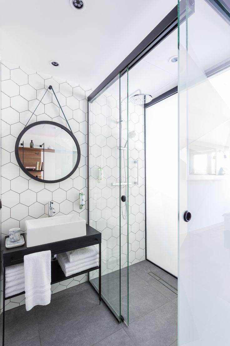 Hexagon Tegels Badkamer Muur Wit Antraciet Vloer – KOOP TJUCHEM